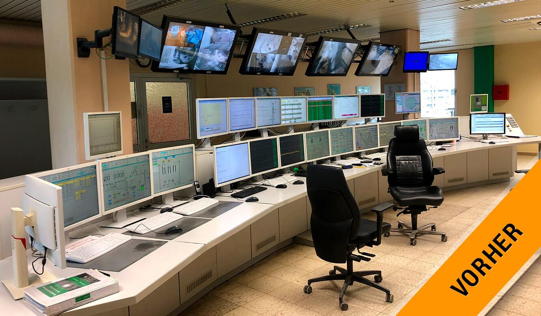 JST-Referenz HeidelbergCement Leitstand: Leitwarte vor dem Umbau