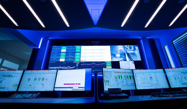 JST-Referenz HeidelbergCement Leitstand: moderne Kontrollraumausstattung schafft High-Tech-Umgebung