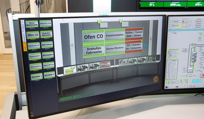 JST-Referenz HeidelbergCement Leitstand: myGUI-Steuerung für Leitwarte